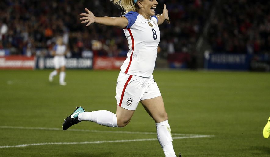 United States defender Julie Ertz (8) celebrates after scoring a goal against New Zealand during the first half of an international friendly soccer match in Commerce City, Colo., Friday, Sept. 15, 2017. (AP Photo/Jack Dempsey)