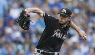 Miami Marlins' Adam Conley pitches to a Milwaukee Brewer batter during the first inning of a baseball game Saturday, Sept. 16, 2017, in Milwaukee. (AP Photo/Tom Lynn)