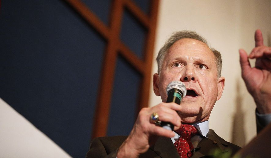 Former Alabama Chief Justice and U.S. Senate candidate Roy Moore speaks to supporters in Montgomery, Ala., on Aug. 15, 2017. (Associated Press) **FILE**