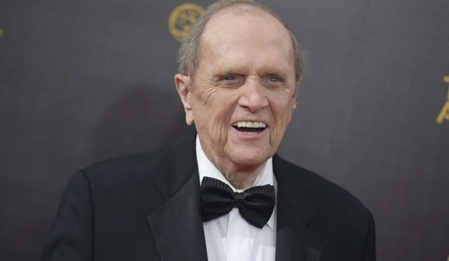 """FILE - In this Sept. 10, 2016 file photo, Bob Newhart arrives at night one of the Creative Arts Emmy Awards at the Microsoft Theater in Los Angeles. Newhart is looking forward to a TV marathon that will mark the 45th anniversary of his 1970s sitcom. But that doesn't mean he'll be binge-watching """"The Bob Newhart Show"""" this weekend. As the droll comedian put it, he knows how most of the episodes end.  The Decades channel will air 84 back-to-back episodes of Newhart's sitcom starting Saturday, Sept. 16, 2017 and ending at Monday, Sept. 18. (Photo by Richard Shotwell/Invision/AP, File)"""