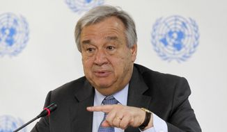 FILE - In this March 8, 2017 file photo, UN Secretary-General Antonio Guterres speaks during a press conference at the UN in Nairobi, Kenya. Guterres has invited world leaders to a special event Monday, Sept. 18, 2017, on preventing sexual exploitation and abuse - an issue that has left a black mark on the U.N.'s far-flung peacekeeping operations and persists despite U.N. vows to combat the scourge. Guterres told reporters this week that the United Nations has drafted a compact which he hopes the organization's 193 member states will sign. (AP Photo/Khalil Senosi, File)