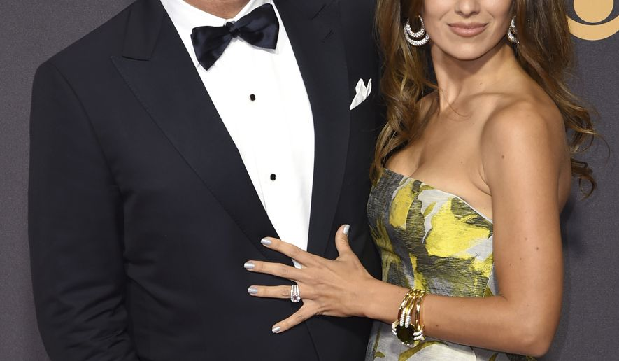 Alec Baldwin, left, and Hilaria Baldwin arrive at the 69th Primetime Emmy Awards on Sunday, Sept. 17, 2017, at the Microsoft Theater in Los Angeles. (Photo by Richard Shotwell/Invision/AP)