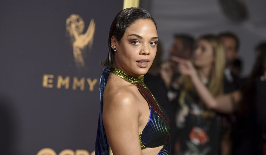 Tessa Thompson arrives at the 69th Primetime Emmy Awards on Sunday, Sept. 17, 2017, at the Microsoft Theater in Los Angeles. (Photo by Richard Shotwell/Invision/AP)