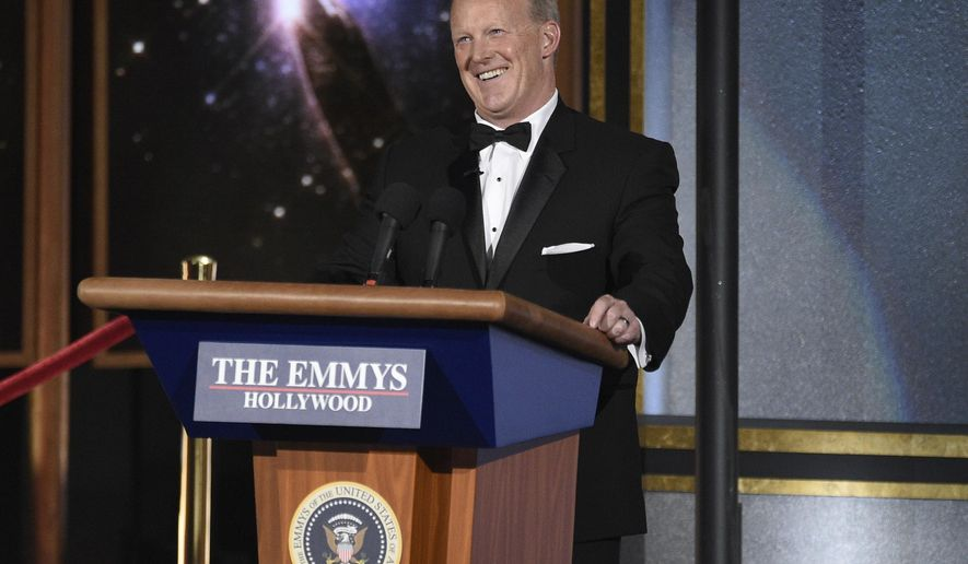 Sean Spicer speaks at the 69th Primetime Emmy Awards on Sunday, Sept. 17, 2017, at the Microsoft Theater in Los Angeles. (Photo by Chris Pizzello/Invision/AP)