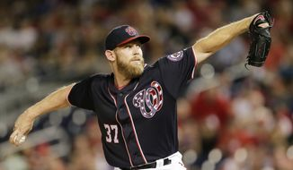 Washington Nationals starting pitcher Stephen Strasburg throws during the first inning of a baseball against the Los Angeles Dodgers, Sunday, Sept. 17, 2017, in Washington. (AP Photo/Mark Tenally)