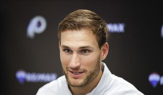 Washington Redskins quarterback Kirk Cousins talks during a news conference after an NFL football game against the Los Angeles Rams Sunday, Sept. 17, 2017, in Los Angeles. (AP Photo/Jae C. Hong)