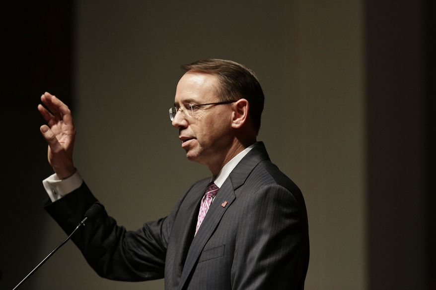 Deputy Attorney General Rod Rosenstein speaks at 16th Baptist Church Sunday, Sept. 17, 2017, in Birmingham, Ala. Hate Crimes, a conference on law enforcement and civil rights is an annual event. (AP Photo/Brynn Anderson)