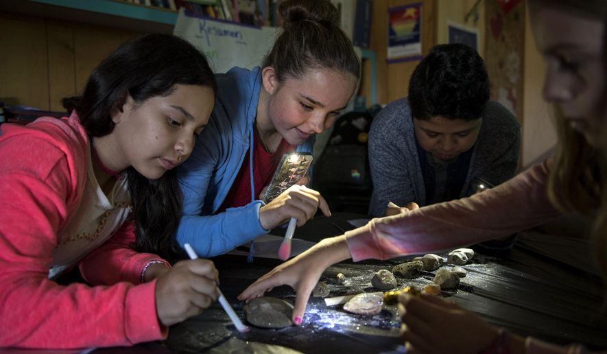 """Wy'east Middle School sixth-graders Liz Rangel, from left, Grace Smith, Diego Ku Bauzo and Audrey Shillinger dust off fossils during Evergreen Public Schools' dual immersion class in Vancouver, Wash., on Tuesday morning, Sept. 12, 2017. The students have been in the same class, where they are instructed in both Spanish and English, since 2011 when they entered kindergarten. """"We're like family,"""" Grace said. (Alisha Jucevic/The Columbian via AP)"""