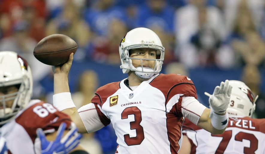 Arizona Cardinals quarterback Carson Palmer (3) throws during the first half of an NFL football game against the Indianapolis Colts, Sunday, Sept. 17, 2017, in Indianapolis. (AP Photo/AJ Mast) **FILE**