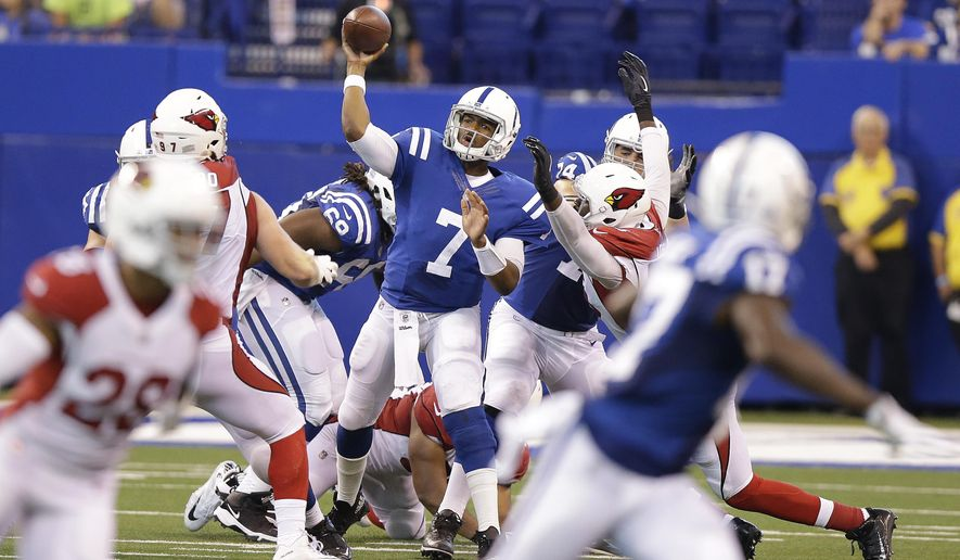 Indianapolis Colts quarterback Jacoby Brissett (7) throws during the second half of an NFL football game against the Arizona Cardinals, Sunday, Sept. 17, 2017, in Indianapolis. (AP Photo/Michael Conroy)