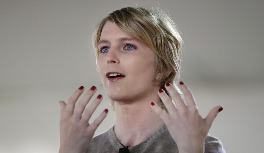 Chelsea Manning addresses an audience, Sunday, Sept. 17, 2017, during a forum, in Nantucket, Mass. The forum is part of The Nantucket Project's annual gathering on the island of Nantucket. Manning is a former U.S. Army intelligence analyst who spent time in prison for sharing classified documents. (AP Photo/Steven Senne) ** FILE **