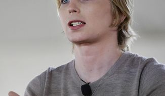 Chelsea Manning addresses an audience, Sunday, Sept. 17, 2017, during a forum, in Nantucket, Mass. The forum is part of The Nantucket Project's annual gathering on the island of Nantucket. Manning is a former U.S. Army intelligence analyst who spent time in prison for sharing classified documents. (AP Photo/Steven Senne)