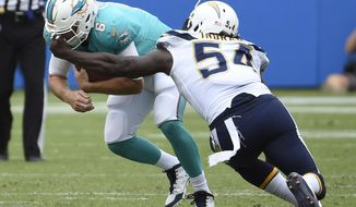 Los Angeles Chargers outside linebacker Melvin Ingram gets a hand on the facemark of Miami Dolphins quarterback Jay Cutler as he hauls him down during the first half of an NFL football game Sunday, Sept. 17, 2017, in Carson, Calif. (AP Photo/Denis Poroy)