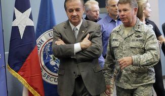 "In this Sept. 14, 2017 photo, Commissioner John Sharp walks with Maj. Gen. John F. Nichols, right, following a briefing on Hurricane Harvey recovery efforts at the new FEMA Joint Field Office, in Austin, Texas. Sharp, the recovery czar over Texas' rebuild after Harvey, says his new job is ""future-proofing"" for the next disaster. (AP Photo/Eric Gay)"