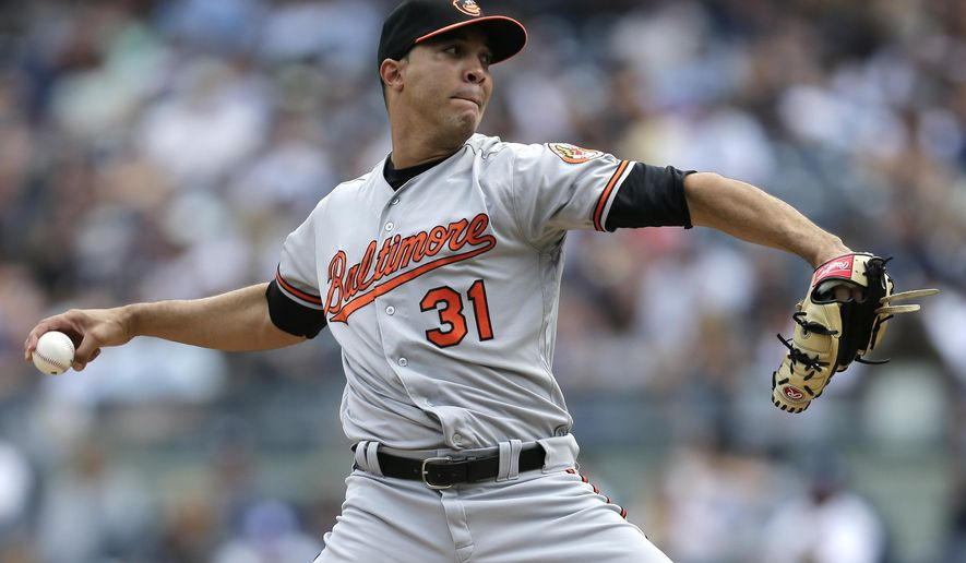 Baltimore Orioles starting pitcher Ubaldo Jimenez throws during the second inning of a baseball game against the New York Yankees at Yankee Stadium, Sunday, Sept. 17, 2017, in New York. (AP Photo/Seth Wenig)