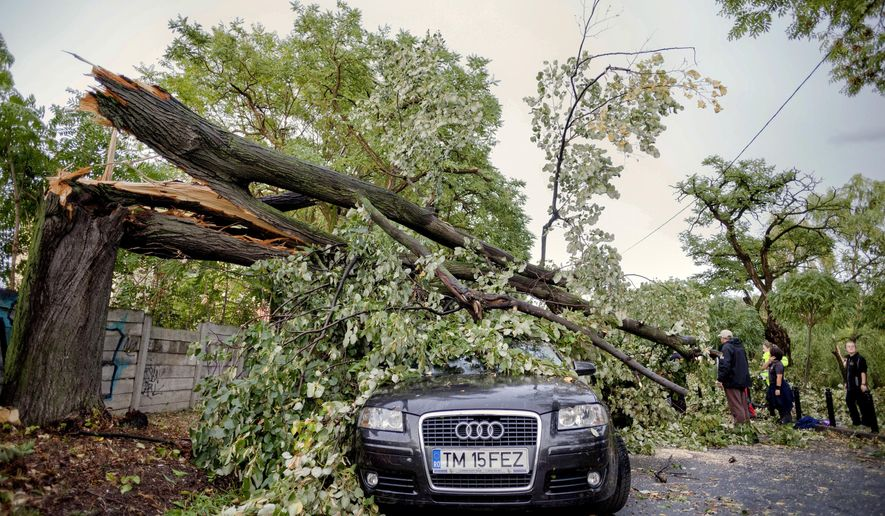 Emergency workers stand next to a fallen tree in Timisoara, Romania, Sunday, Sept. 17, 2017, following a deadly storm that affects the west part of the country. Authorities say six people have died and at least 30 were injured during a violent storm in western Romania that produced winds of up to 100 kilometers (60 miles) an hour. (AP Photo/Cornel Putan)