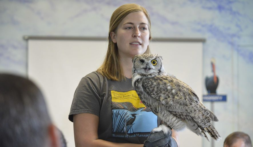 Corrine Coffman, with the Bureau of Land Management operated Morley Nelson Snake River Birds of Prey National Conservation Area, holds Great Horned Owl, Archimedes, as inmates from Snake River Correctional Institution look on, Sept. 8, 2017. The lecture took place at Snake River Correctional Institution. (Hunter Marrow /Argus Observer via AP)