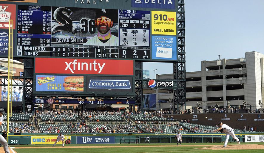 Detroit Tigers starting pitcher Matthew Boyd, lower right, delivers against the Chicago White Sox in the ninth inning, Sunday, Sept. 17, 2017, in Detroit. Boyd threw a one-hitter. (AP Photo/Jose Juarez)