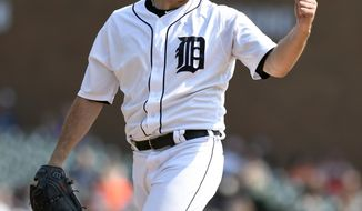 Detroit Tigers starting pitcher Matthew Boyd (48) reacts after the final out  in the sixth inning of a baseball game against the Chicago White Sox Sunday, Sept. 17, 2017, in Detroit. (AP Photo/Jose Juarez)
