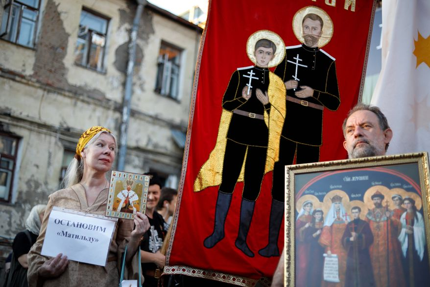 """An Orthodox protester holds up a sign reading """"Stop Matilda"""" during a protest against the release of the movie. (Associated Press/File)"""