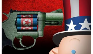 Illustration on the North Korean threat by Alexander Hunter/The Washington Times