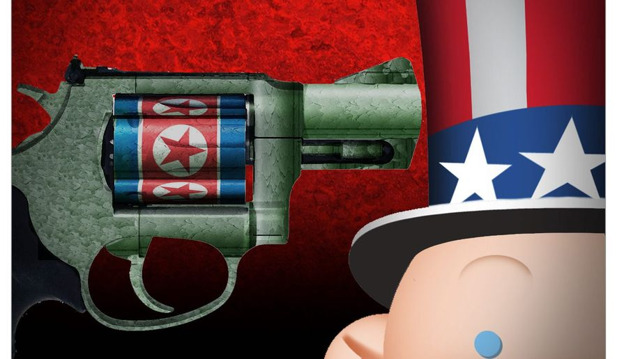 Illustration on the North Korean threat by Alexander Hunter/The Washington Times