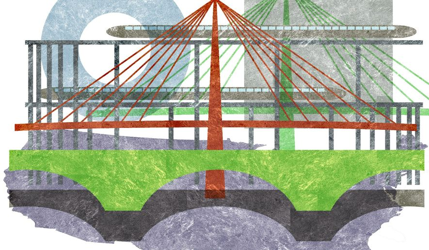 Illustration on infrastructural development in America by Alexander Hunter/The Washington Times