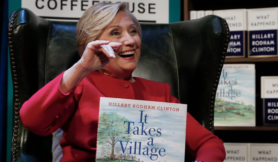 "Democratic presidential nominee Hillary Clinton promoted her book ""What Happened"" during an appearance at the Warner Theatre in Washington. (ASSOCIATED PRESS)"