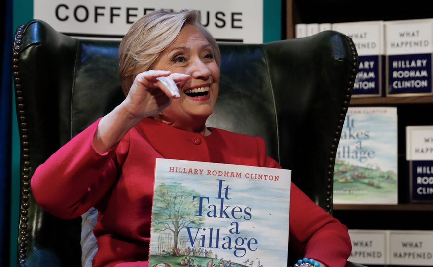 """Democratic presidential nominee Hillary Clinton promoted her book """"What Happened"""" during an appearance at the Warner Theatre in Washington. (ASSOCIATED PRESS)"""