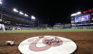 Nationals Park is seen in this general view during a baseball game between the Los Angeles Dodgers and Washington Nationals, Sunday, Sept. 17, 2017, in Washington. (AP Photo/Mark Tenally)