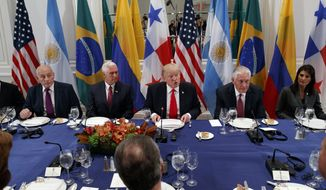 President Donald Trump speaks during a dinner with Latin American leaders at the Palace Hotel during the United Nations General Assembly, Monday, Sept. 18, 2017, in New York, with from left, White House chief of staff John Kelly, Vice President Mike Pence, Trump, Secretary of State Rex Tillerson, and United States Ambassador to the United Nations Nikki Haley. (AP Photo/Evan Vucci)