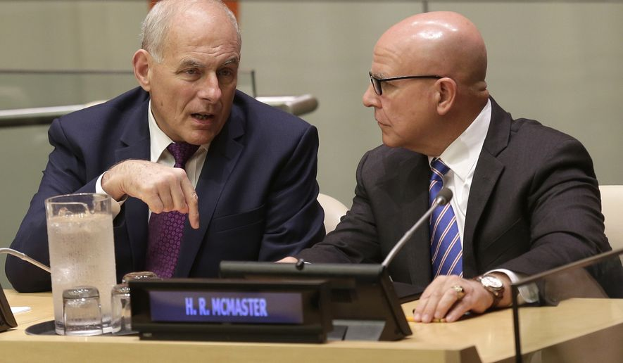 White House Chief of Staff John Kelly, left, and United States National Security Advisor H.R. McMaster speak before a meeting during the United Nations General Assembly at U.N. headquarters, Monday, Sept. 18, 2017. (AP Photo/Seth Wenig)