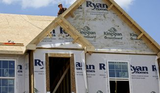 In this Thursday, June 1, 2017, photo, builders work on the roof of a home under construction at a housing plan in Jackson Township, Butler County, Pa. On Monday, Sept. 18, 2017, the National Association of Home Builders/Wells Fargo releases its September index of builder sentiment. (AP Photo/Keith Srakocic)