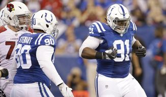 Indianapolis Colts' Hassan Ridgeway celebrates after a sack of Arizona Cardinals quarterback Carson Palmer during the second half of an NFL football game Sunday, Sept. 17, 2017, in Indianapolis. (AP Photo/AJ Mast)