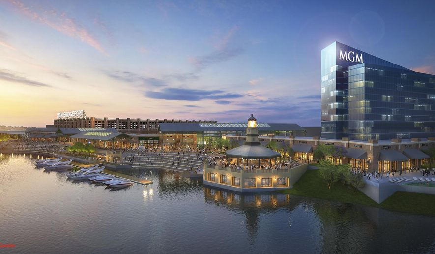This image provided by MGM Resorts International shows an architectural rendering of a casino proposed for Bridgeport, Conn., announced on Monday, Sept. 18, 2017, by MGM Resorts International and The RCI Group. (MGM Resorts International via AP)