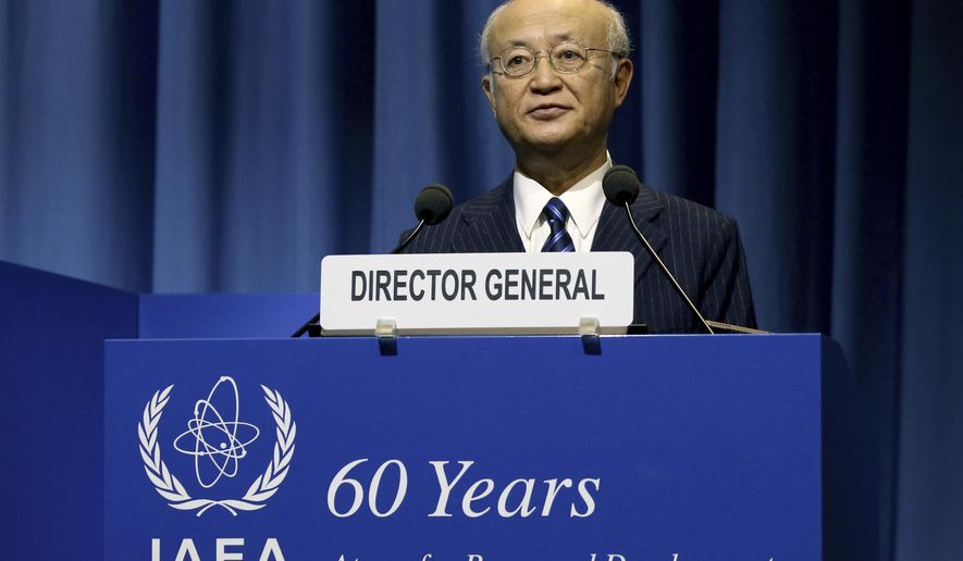 CORRECTS DATE - Director General of the International Atomic Energy Agency, IAEA, Yukiya Amano of Japan delivers a speech during the opening of the general conference of the IAEA, in Vienna, Austria, Monday, Sept. 18, 2017. (AP Photo/Ronald Zak)