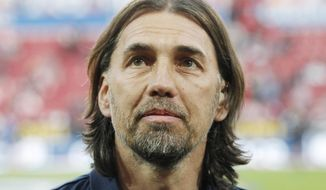 In this Friday, April 24, 2015 file photo Martin Schmidt looks on prior to the German Bundesliga soccer match between 1. FSV Mainz 05 and FC Schalke 04 in Mainz, Germany. Schmidt is the new head coach of the German first division soccer team VfL Wolfsburg and the successor of Dutch coach Andries Jonker. (AP Photo/Michael Probst, file)