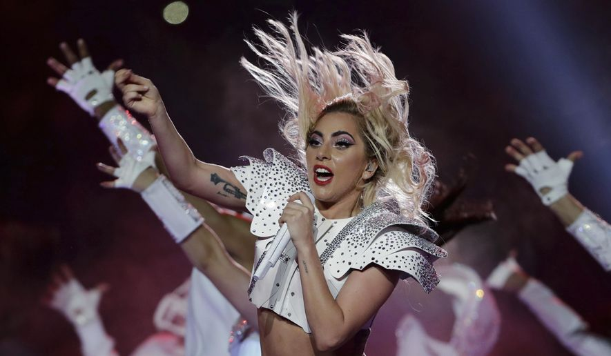 In this Feb. 5, 2017, file photo, Lady Gaga performs during the halftime show of the NFL Super Bowl 51 football game between the New England Patriots and the Atlanta Falcons in Houston. Lady Gaga has postponed her world tour's European leg until next year because of ongoing health problems. The six-week part of the Joanne World Tour was set to kick off in Barcelona on Sept. 21. (AP Photo/Matt Slocum, File)