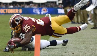 Washington Redskins running back Chris Thompson scores past Los Angeles Rams strong safety Maurice Alexander during the first half of an NFL football game Sunday, Sept. 17, 2017, in Los Angeles. (AP Photo/Kelvin Kuo)