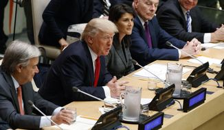 "President Donald Trump speaks during the ""Reforming the United Nations: Management, Security, and Development"" meeting during the United Nations General Assembly, Monday, Sept. 18, 2017, in New York. From left, UN Secretary General Antonio Guterres, Trump, UN Ambassador Nicky Haley, White House chief of staff John Kelly, and National Security Adviser H.R. McMaster. (AP Photo/Evan Vucci)"