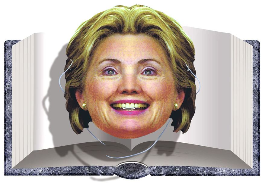 Illustration on Hillary's newest book by Alexander Hunter/The Washington Times
