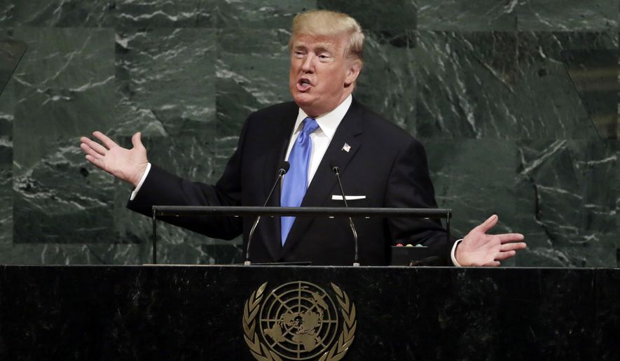 """In his first speech to the U.N. General Assembly, President Trump challenged other nations to take a stand against """"a small group of rogue regimes,"""" and he singled out North Korean leader Kim Jong-un as the most urgent danger. (Associated Press)"""