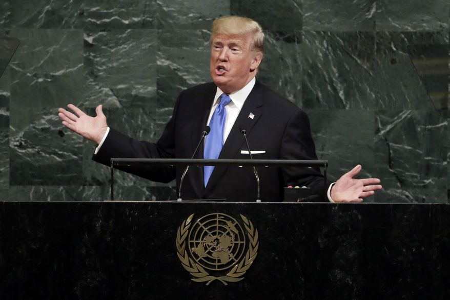 "In his first speech to the U.N. General Assembly, President Trump challenged other nations to take a stand against ""a small group of rogue regimes,"" and he singled out North Korean leader Kim Jong-un as the most urgent danger. (Associated Press)"