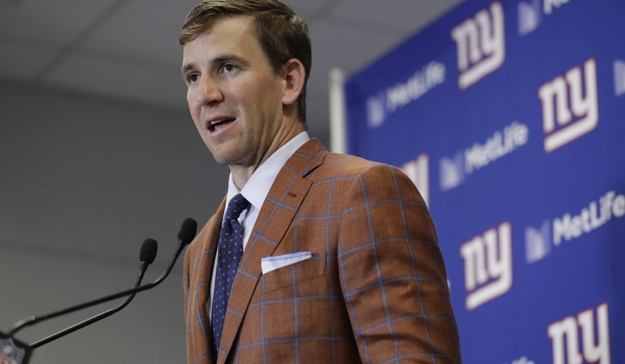 New York Giants quarterback Eli Manning speaks during a news conference after an NFL football game against the Detroit Lions Monday, Sept. 18, 2017, in East Rutherford, N.J. The Lions won 24-10. (AP Photo/Julio Cortez)
