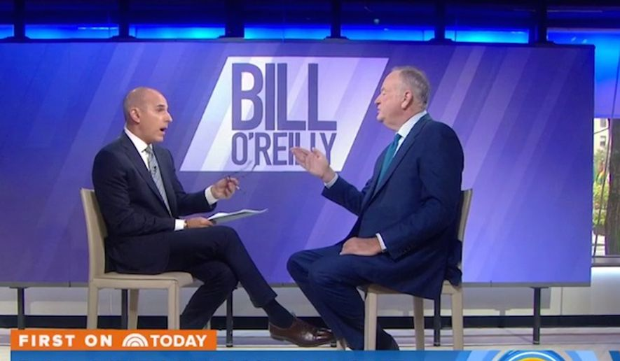 "Author Bill O'Reilly spars with NBC ""Today"" host Matt Lauer over his exit from Fox News. (Image: Twitter, ""Today"" show)"