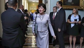 Sen. Susan M. Collins, Maine Republican, said she was dismayed by congressional scorekeepers' analysis that millions fewer people would hold insurance under the Republican plan. (Associated Press/File)