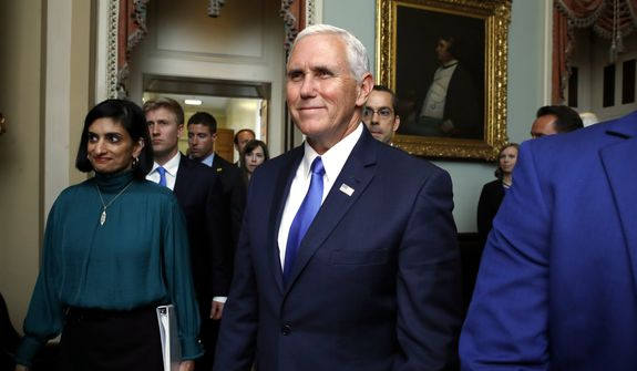 Vice President Mike Pence delivered a pep talk to Senate Republicans and plotted strategy with Sen. Lindsey Graham of South Carolina, one of the chief architects of the proposal to repeal Obamacare and send money to states in the form of block grants. (Associated Press)