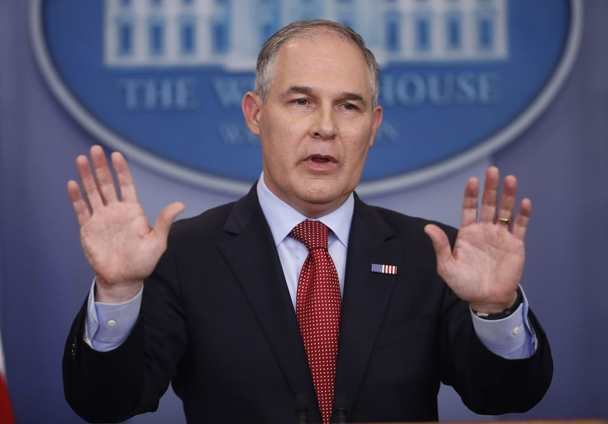 In this June 2, 2017, file photo, EPA Administrator Scott Pruitt speaks to the media during the daily briefing in the Brady Press Briefing Room of the White House in Washington. (AP Photo/Pablo Martinez Monsivais, File)