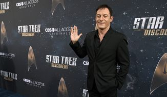 "Jason Isaacs, a cast member in ""Star Trek: Discovery,"" poses at the premiere of the new television series on Tuesday, Sept. 19, 2017, in Los Angeles. (Photo by Chris Pizzello/Invision/AP)"