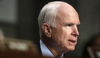Senate Armed Services chairman Sen. John McCain, R-Ariz., speaks during a hearing on 'Recent United States Navy Incidents at Sea', Tuesday, Sept. 19, 2017, on Capitol Hill in Washington. (AP Photo/Jacquelyn Martin) ** FILE **